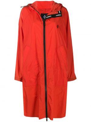 С рукавами пальто с капюшоном айвори на шнурках эластичное Marcelo Burlon. County Of Milan