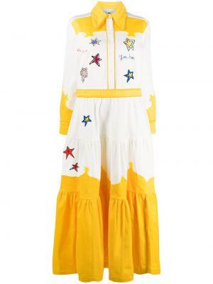 Классическое платье макси с вышивкой на пуговицах с воротником Mira Mikati