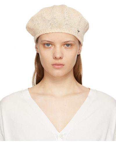 Czarny beret bawełniany z haftem Ys