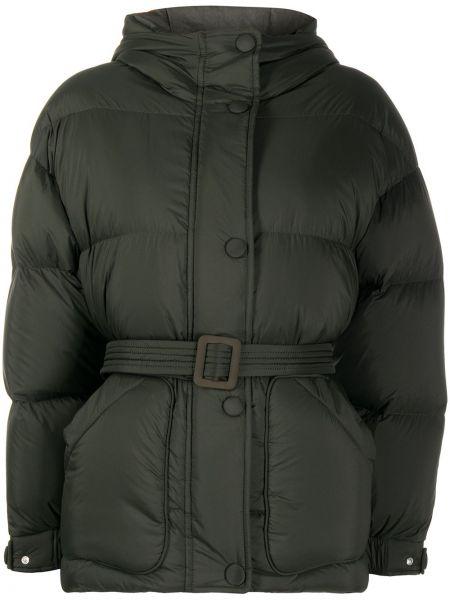 Зеленая классическая прямая нейлоновая куртка с капюшоном Ienki Ienki