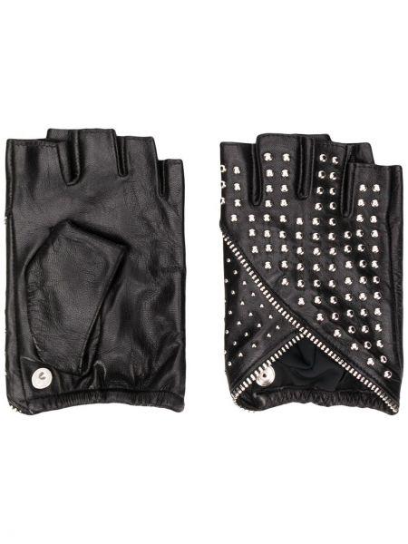 Перчатки без пальцев кожаные длинные Karl Lagerfeld
