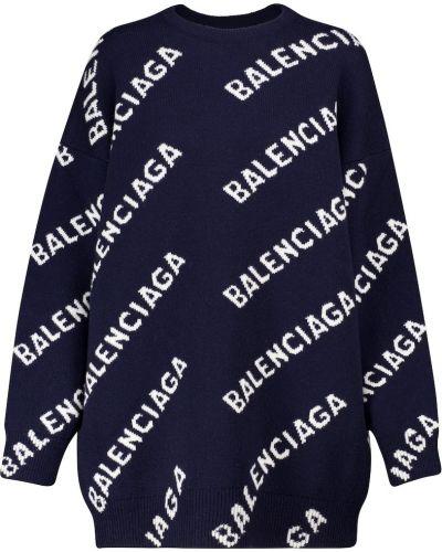 Niebieski wełniany sweter Balenciaga