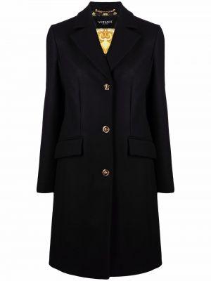 Шерстяное черное длинное пальто свободного кроя Versace