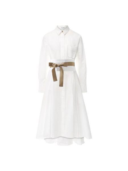 Платье с поясом из поплина мягкое Brunello Cucinelli