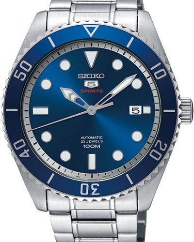 Часы механические водонепроницаемые серые Seiko