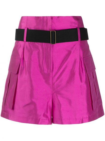 Шелковые шорты карго с карманами свободного кроя Erika Cavallini