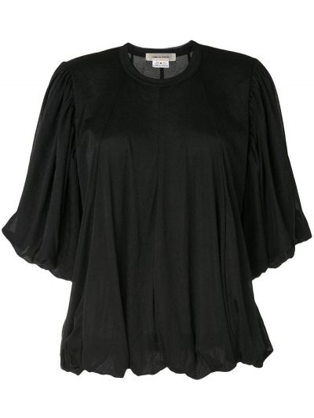 Черная блузка с драпировкой свободного кроя с вырезом Comme Des Garçons