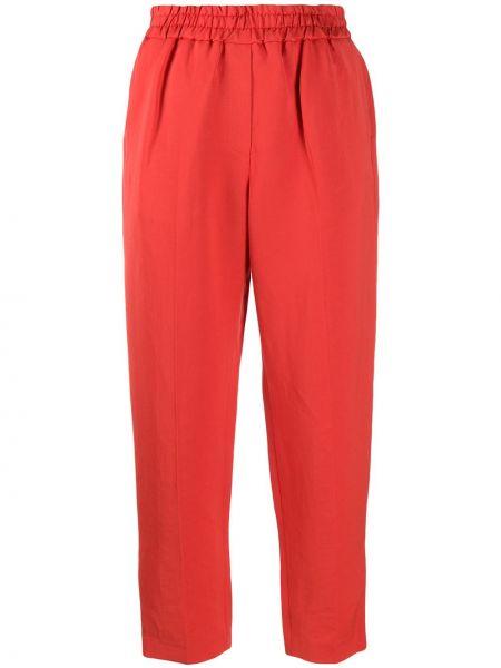 Красные льняные укороченные брюки с поясом Frenken