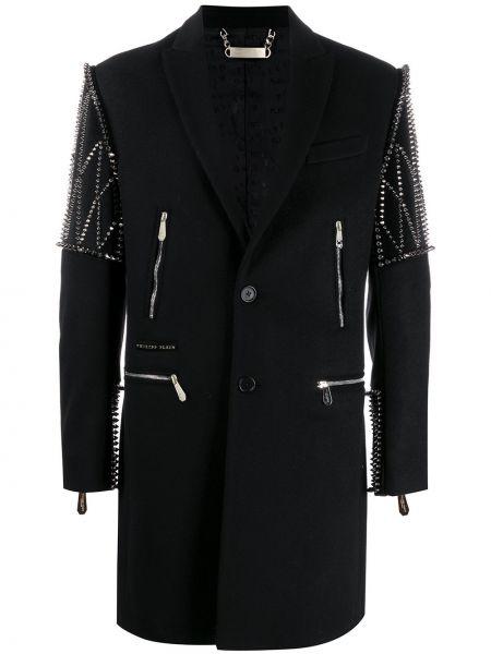 Długi płaszcz wełniany z klapami Philipp Plein