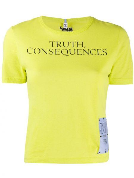 Желтая прямая футболка с нашивками с круглым вырезом Mcq Alexander Mcqueen