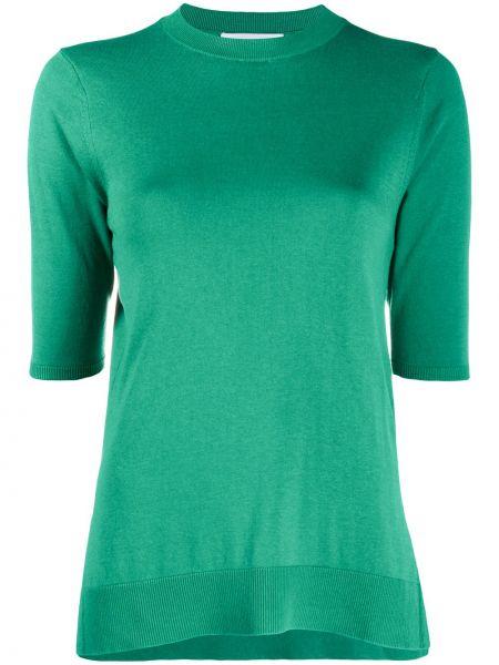Bawełna jedwab rozbłysnął zielony koszula z krótkim rękawem Enfold