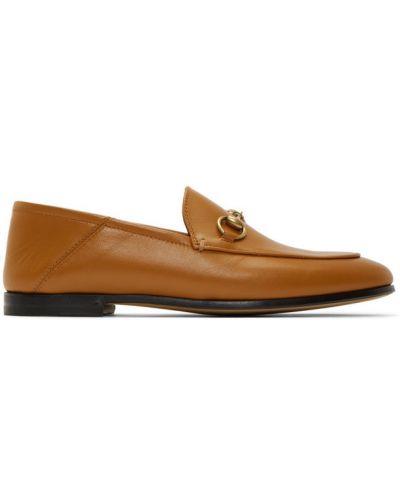 Skórzany czarny loafers na pięcie prążkowany Gucci