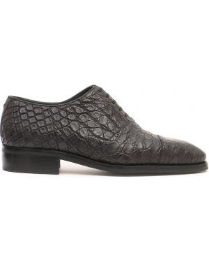 Туфли на шнуровке из кожи крокодила Artioli