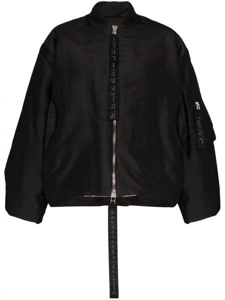 Черная куртка двусторонняя на молнии с вышивкой Carcel