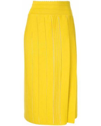 Желтая прямая юбка миди в рубчик Molli