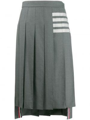 Brązowa spódnica midi z wysokim stanem wełniana Thom Browne