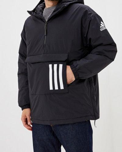 Утепленная куртка черная осенняя Adidas