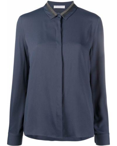 Синяя шелковая с рукавами блузка Fabiana Filippi