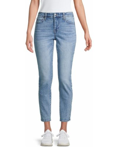 Укороченные синие зауженные джинсы с карманами True Religion
