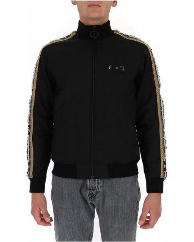 Czarna długa kurtka wełniana z długimi rękawami Off-white