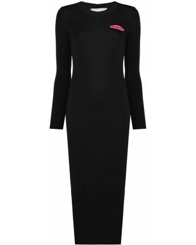 Черное тонкое платье с рукавами с нашивками с вырезом Iceberg