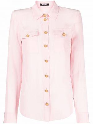 Розовая шелковая рубашка Balmain