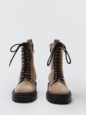 Бежевые ботинки осенние Massimo Dutti