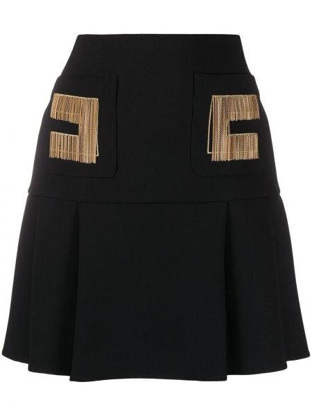 Черная с завышенной талией юбка на молнии с вышивкой Elisabetta Franchi