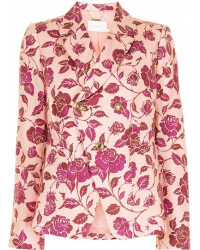 Розовый удлиненный пиджак двубортный на пуговицах Zimmermann