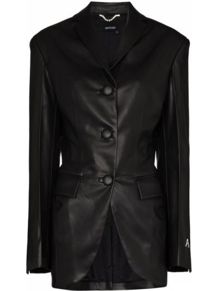 Кожаный черный пиджак с карманами с лацканами Anouki