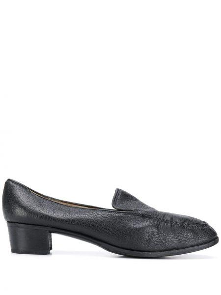 Черные лоферы на каблуке винтажные Gucci Pre-owned