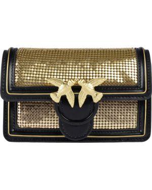 Кожаная сумка золотая Pinko