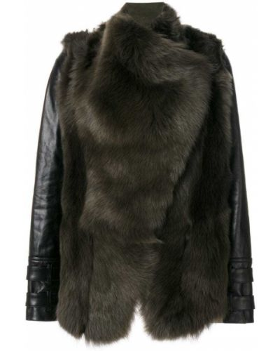 Кожаная куртка замшевая зеленая Plein Sud
