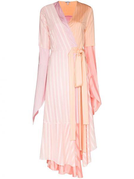 Платье миди розовое с запахом Loewe