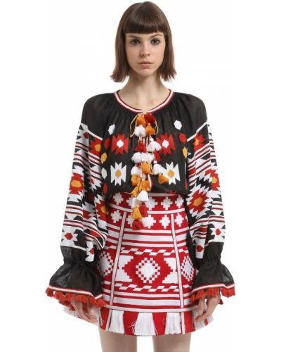 Блузка с длинным рукавом с завязками с вышивкой Vita Kin