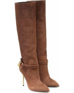 Замшевые коричневые сапоги на высоком каблуке до середины колена Tom Ford