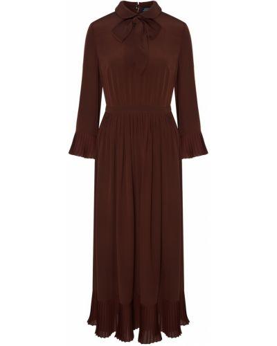 Шелковое платье макси - коричневое Alena Akhmadullina
