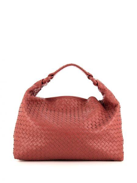 Золотистая парусиновая розовая сумка-тоут на молнии Bottega Veneta Pre-owned