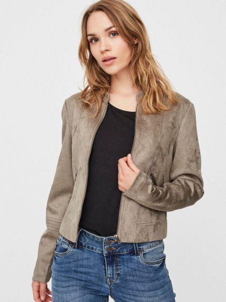 Кожаная куртка весенняя серая Vero Moda