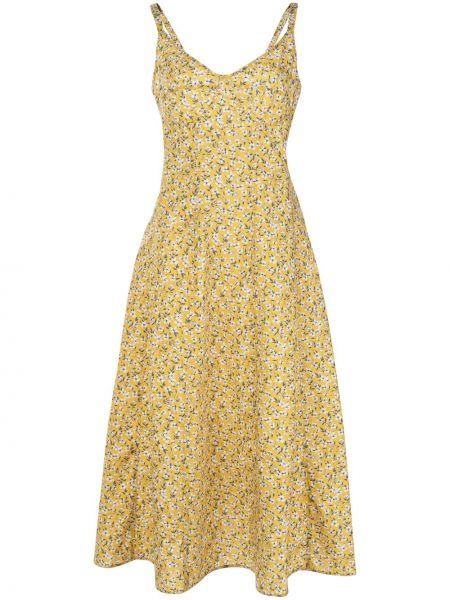 Платье миди с цветочным принтом с V-образным вырезом R13