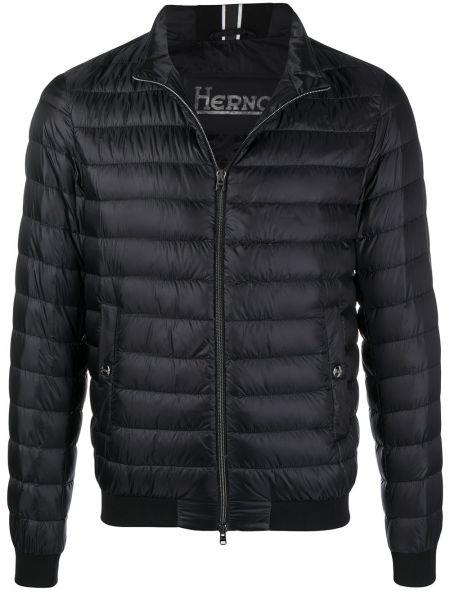 Z rękawami czarny długa kurtka z kieszeniami Herno