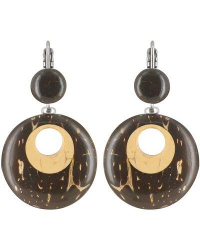 Коричневые серьги-кольца Nature Bijoux