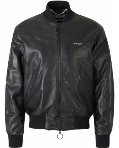 Czarna kurtka skórzana z printem Off-white