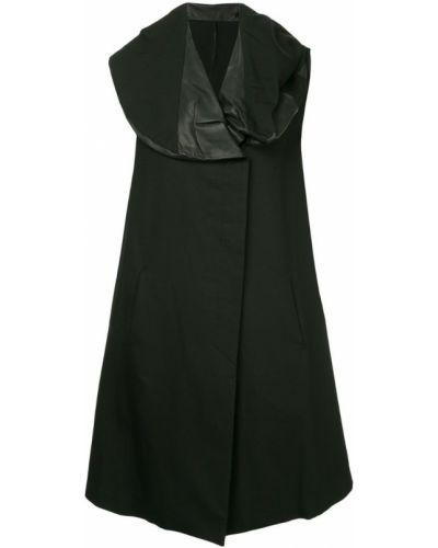 Черное пальто с капюшоном без рукавов Masnada