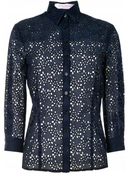 Хлопковая синяя с рукавами классическая рубашка Carolina Herrera