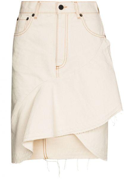 Bawełna niebieski z wysokim stanem dżinsowa spódnica z paskiem Off-white