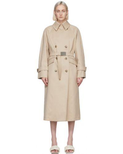Бежевое длинное пальто с воротником двубортное Sportmax
