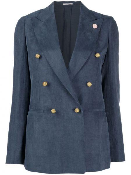 Хлопковый синий удлиненный пиджак двубортный Lardini