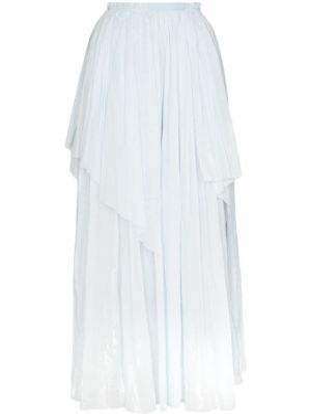 Деловая синяя с завышенной талией юбка макси с поясом Vika Gazinskaya