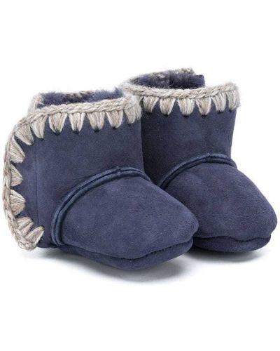 Синие зимние ботинки из овчины без застежки на плоской подошве Mou Kids